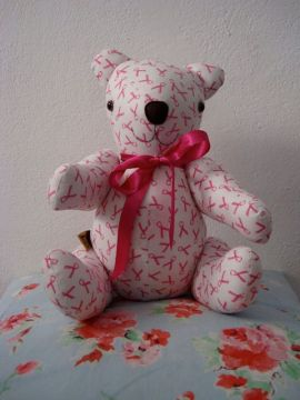 Lovely pink Bubs Bear, made by Abby